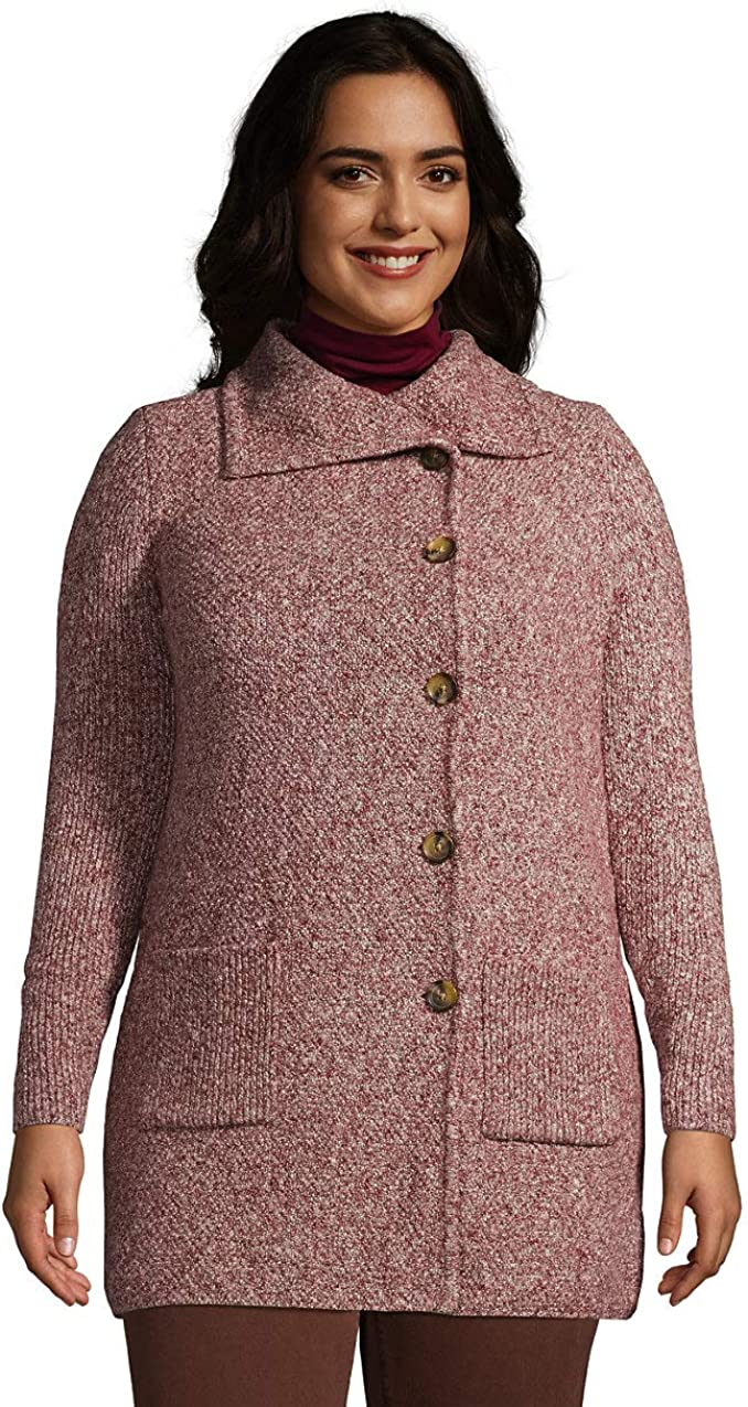 Lands' End Women's Pebble Yarn Button Up Cardigan Sweater