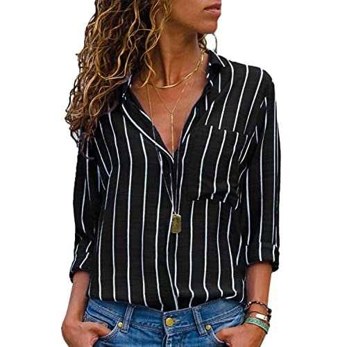 73310a2b HOTAPEI Womens Casual V Neck Striped Chiffon Blouses Long Sleeve Button  Down Shirts Tops with Front