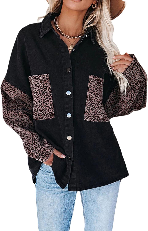 Womens Leopard Contrast Denim Jacket Oversized Long Sleeve Lapel Button Up Boyfriend Trucker Jacket Coat Outwear