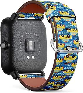 Compatible con Huami Amazfit Bip – Correa de Reloj de Cuero con pasadores de liberación rápida (Taxi Coche)