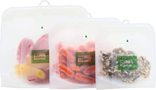 NET POSITIVE Reusable Silicone Food Storage Bags (Snack, Sandwich, Storage Size 3 pack)