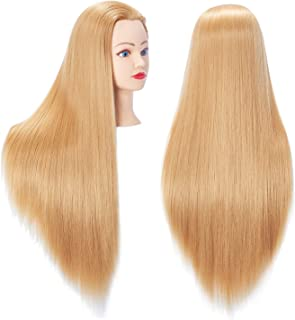 """Hairingrid 26""""-28"""" Mannequin Head Hair Styling Training Head Manikin Cosmetology Doll Head Synthetic Fiber Hair and Free Clamp Holder (Blond)"""