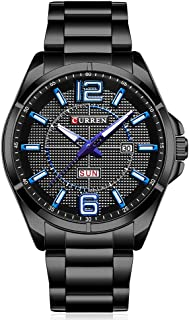 CURREN Men Watches Quartz Water Resistant Stainless Steel Watchband Wristwatches with Calendar 8271 (Black-Blue)
