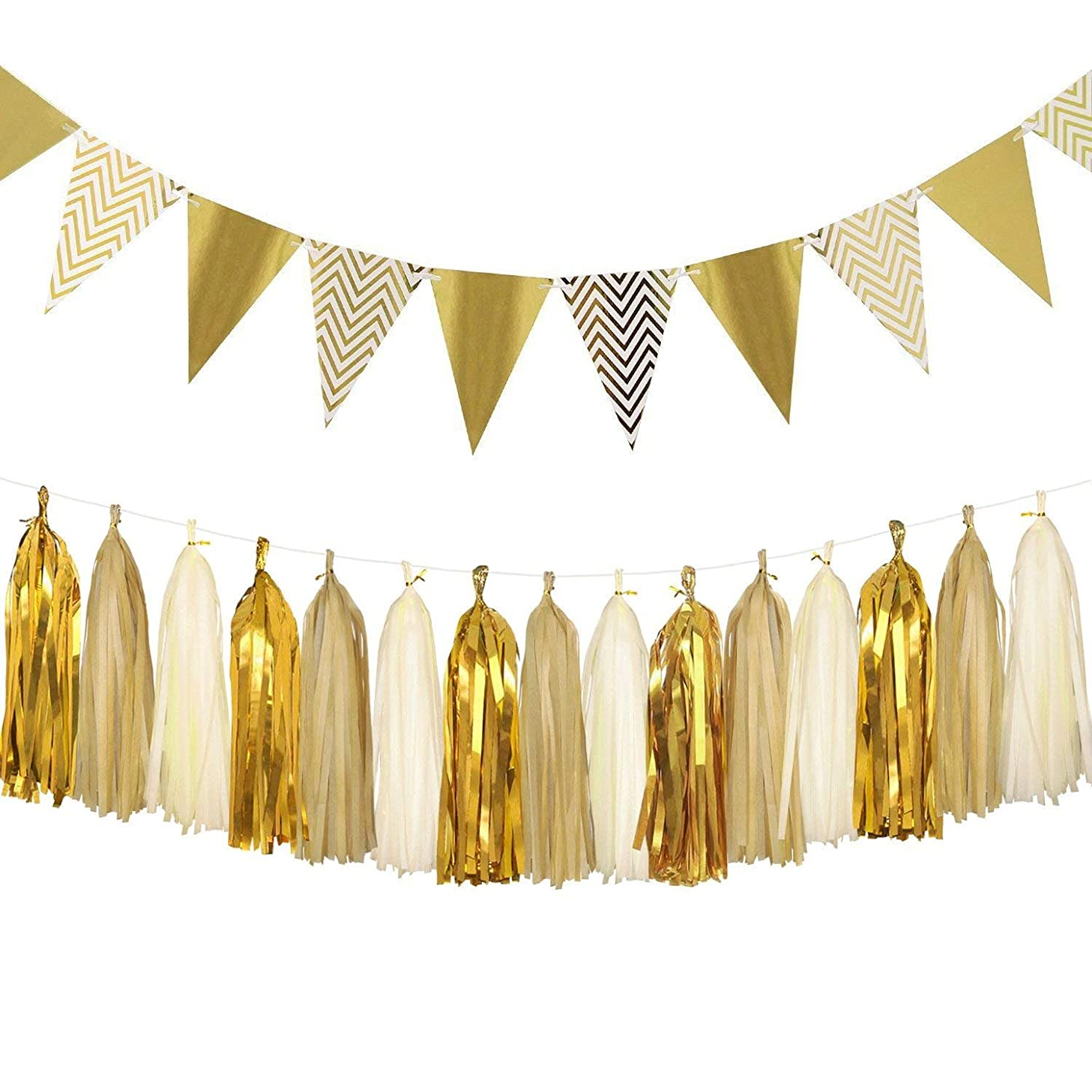 Sparkly Paper Pennant Banner Triangle Flags Bunting 10 Feet and Tissue Paper Tassels Garland 15 pcs for Baby Shower, Birthday Party Wedding Wall Decorations, Metallic Gold