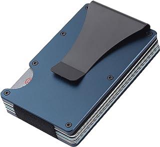 Ancocs Credit Card Holder Minimalist Design with Metal Money Clip -NFC RFID Blocking Slim Aluminum Wallet Purse Card Organ...