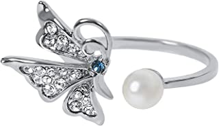 MOONSTONE Fashion Ring For Women Classic Butterfly Faux Pearl, Adjustable Size