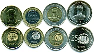 Dominican Republic 4 Coins Set 2008 UNC 1-25 pesos Collectible Coins Caribbean Island Foreign Money