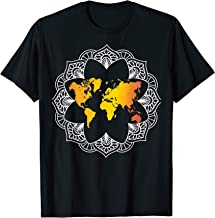 Mandala World Map T-Shirt Zen Travel Lover Traveler Gift