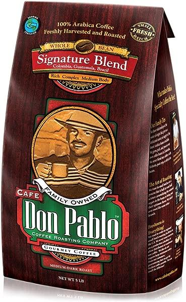 5LB Cafe Don Pablo Gourmet Coffee Signature Blend Medium Dark Roast Coffee Whole Bean Coffee 5 Pound 5lb Bag