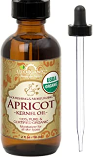 US Organic Apricot Kernel Oil, USDA Certified Organic,100% Pure & Natural, Cold Pressed Virgin, Unrefined in Amber Glass Bottle w/Glass Eyedropper for Easy Application (2 oz (Small))