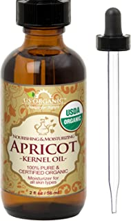 US Organic Apricot Kernel Oil, USDA Certified Organic,100% Pure & Natural, Cold Pressed Virgin, Unrefined in Amber Glass Bottle w/Glass Eyedropper for Easy Application (2 oz (56 ml))