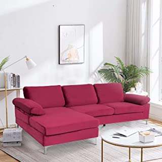 DKLGG Sectional Couch, Modern Classic Upholstered Sectional Sofa Futon Couches, Sectional Sofas for Living Room(Purple)