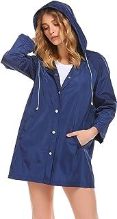 SUNAELIA Women's Lightweight Waterproof Raincoat with Hood Long Rain Jacket