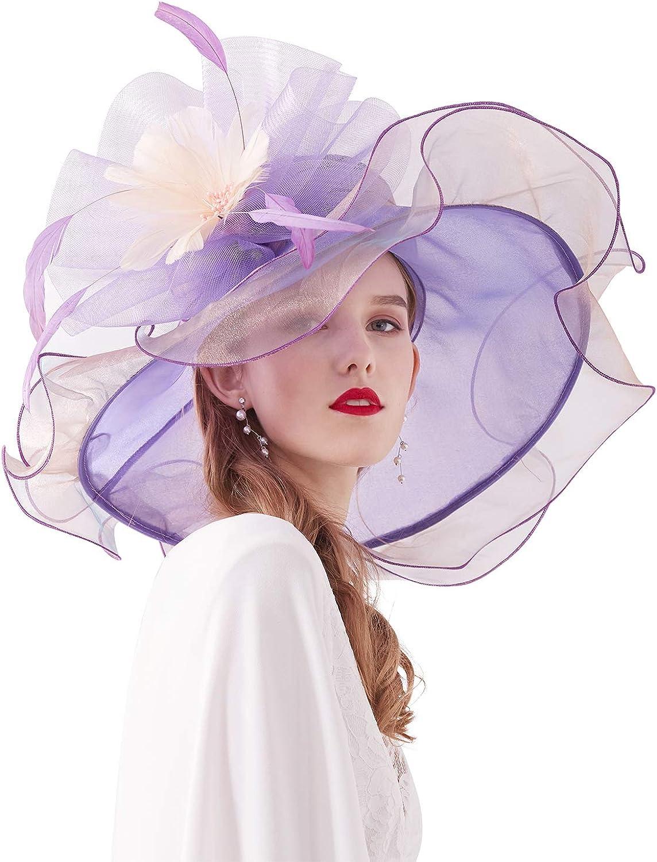 ELLYDOOR Women Kentucky Derby Church Hat Organza Flower Wedding Tea Party Fascinator Hat Wide Brim Sun Hat