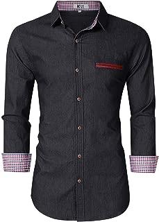 MrWonder Mens Casual Fit Button Down Shirts Short Sleeve Denim Shirts Dress Shirt (S, Grey)
