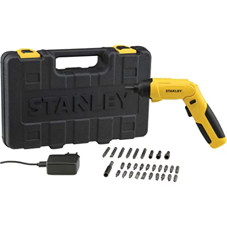 STANLEY SCS4K 4V 6.35mm 4.5Nm Li-ion Cordless Screwdriver with integrated LED and 30pc Accessories set-1.5Ah Battery
