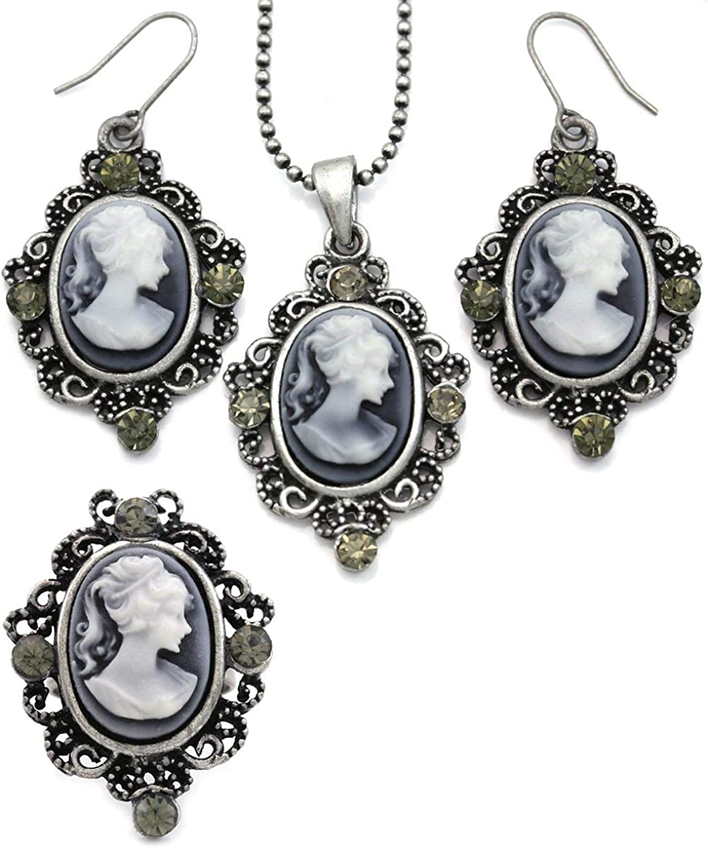 Soulbreezecollection Gray Cameo Necklace Fashion Jewelry Ring Set Pendant Charm Dangle Drop Earrings
