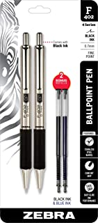 Zebra Pens Fine Point F-402 Ballpoint Stainless Steel Pen, 0.7mm Black Ink, 2 Black Ink Retractable Metal Pens with 2 Blac...