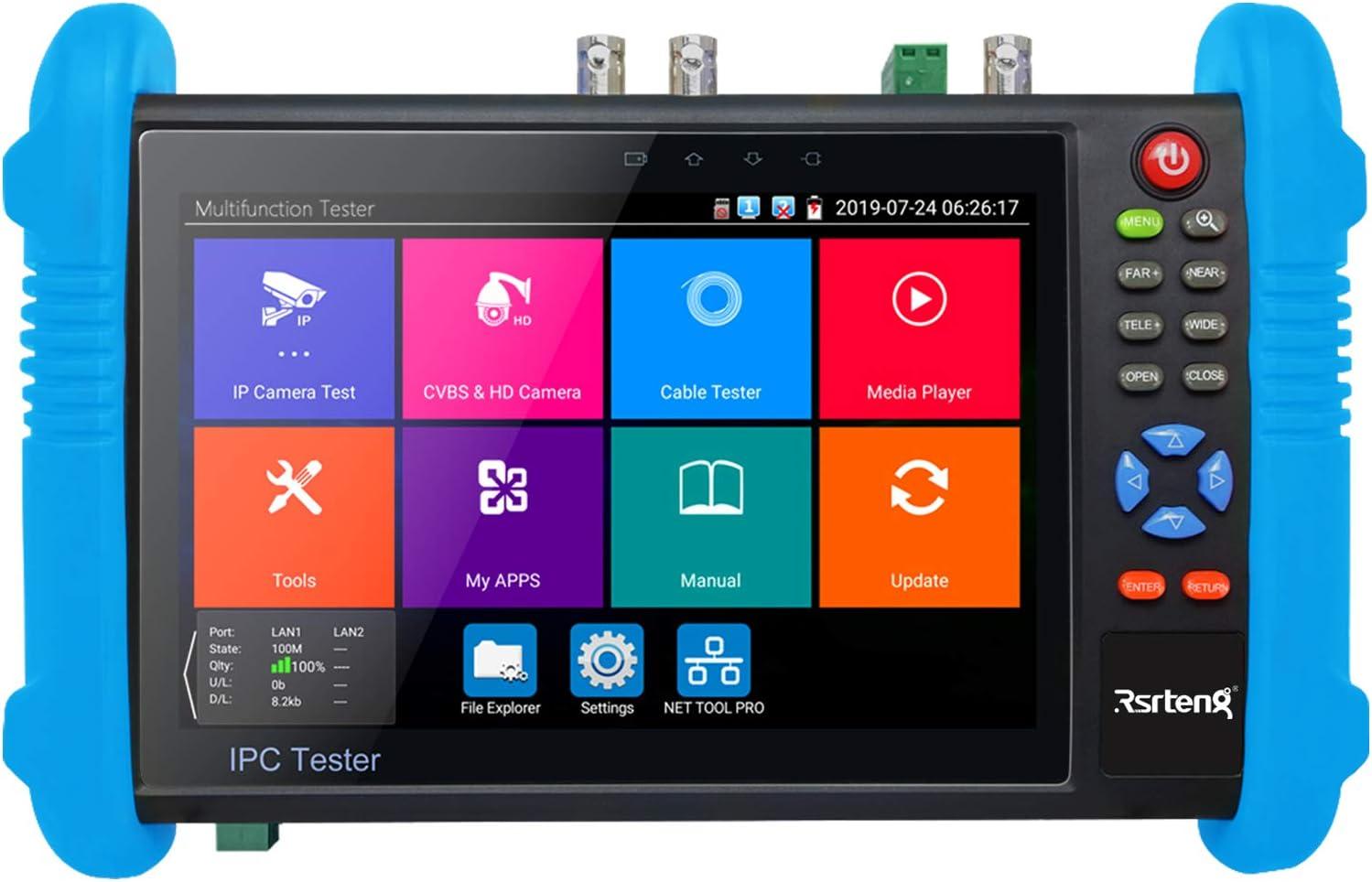 Rsrteng CCTV Camera Tester, Security IP Camera Tester 8MP CVI TVI AHD SDI CVBS Camera Tester 7inch IPS Touch Screen Support TDR POE WiFi 4K H.265 HDMI IPC Tester IPC-9800ADHS Plus+