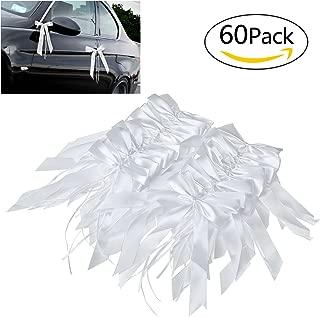 Willlingood 60 Stück Antennenschleifen Autoschleifen Autoschmuck Dekoration für Hochzeit Weiß