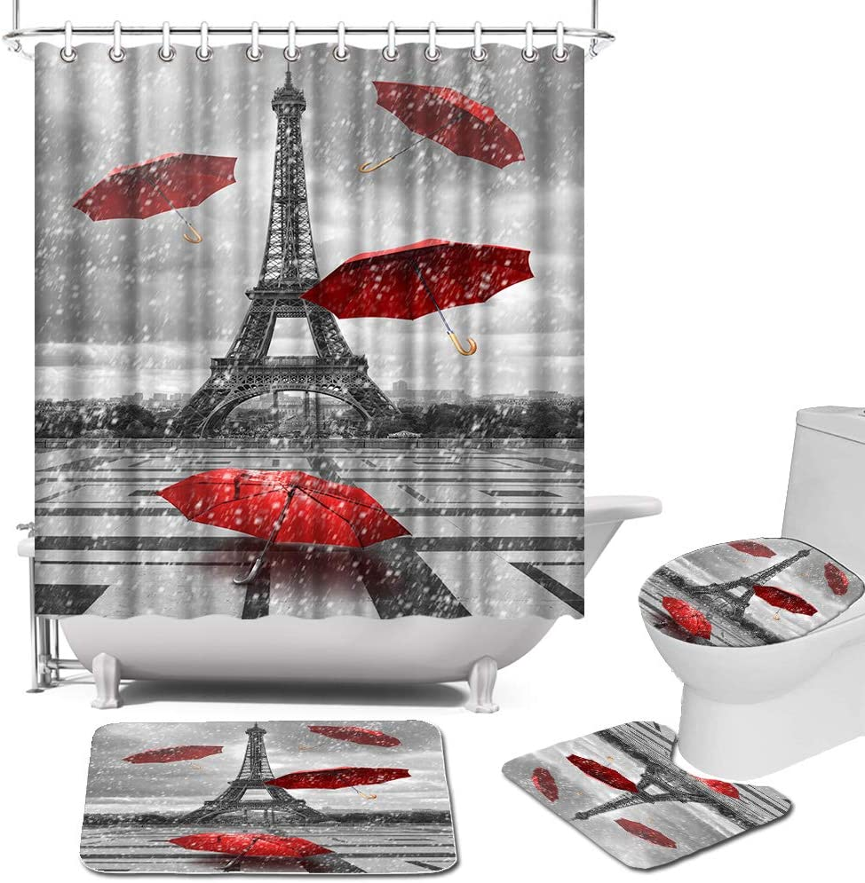 Sales Eiffel Tower Shower Purchase Curtain Sets with Toilet Lid Cover and Rugs