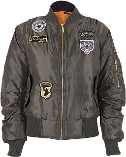 NOROZE Girls Kids Boys Army Airforce MA1 Flight Pilot Badges Bomber Jacket 7-13 Years
