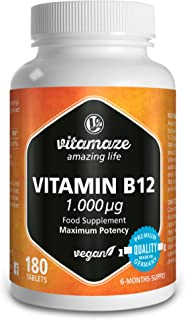 Vitamaze® Vitamina B12 1000 mcg Comprimidos de con Metilcobalamina, 180 Comprimidos Vegana, 6 Meses de Suministro, Organica Pura Suplemento Alimenticio sin Aditivos Innecesarios, Calidad Alemana