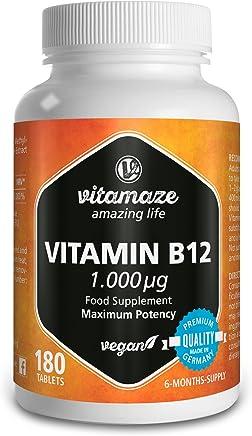 Vitamaze Vitamina B12 Alto dosaggio Metilcobalamina 1000 µg 180 compresse vegane fornitura 6 mesi Prodotto di qualità prodotto in Germania senza stearato di magnesio!