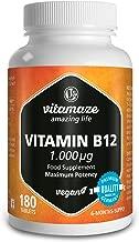 Vitamaze Vitamina B12 Alto dosaggio Metilcobalamina 1000 µg 180 compresse vegane fornitura 6 mesi Prodotto di qualità prodotto in Germania senza stearato di magnesio