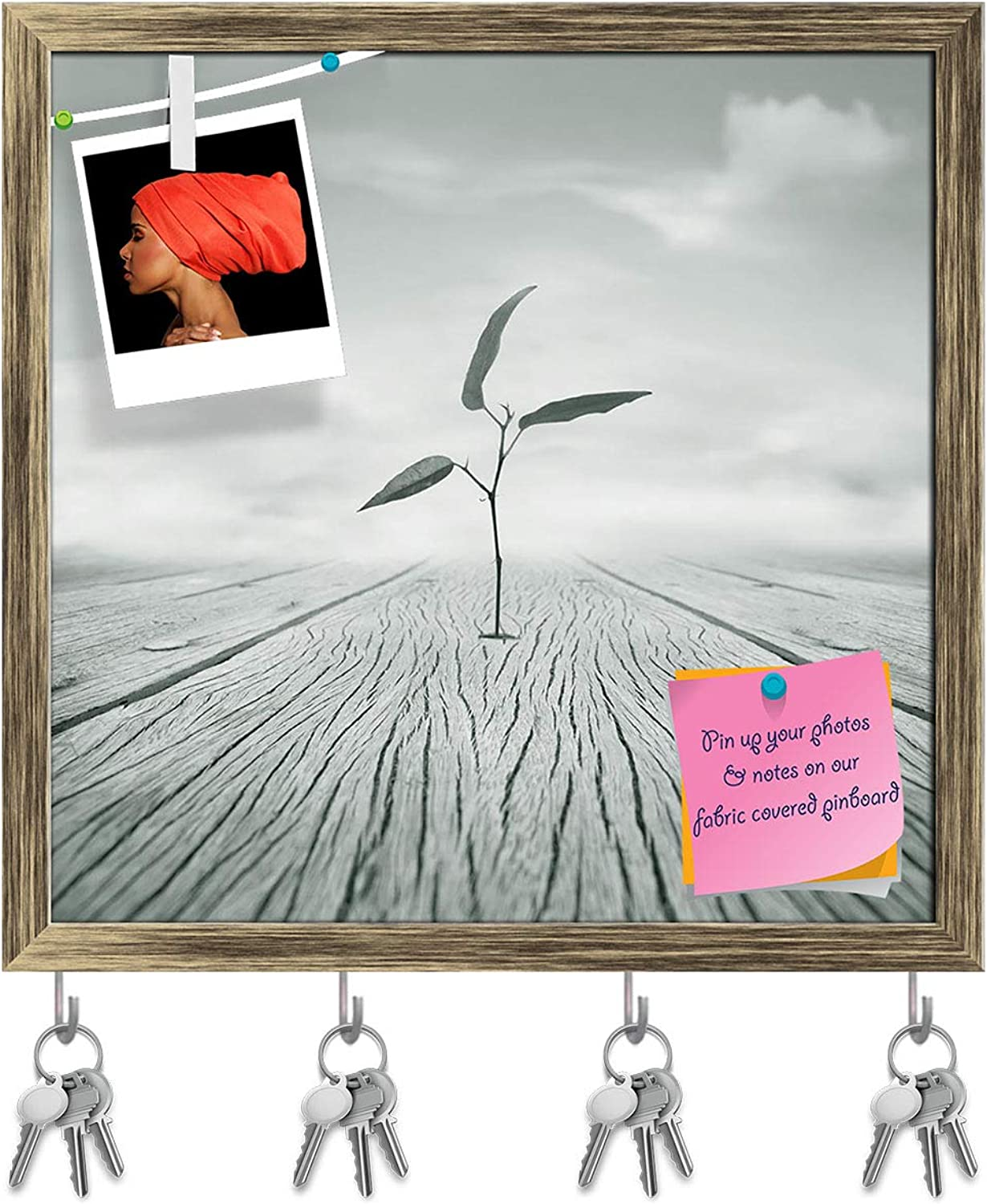 Artzfolio Poetic Image of A Little Branch with Leaves Key Holder Hooks   Notice Pin Board   Antique golden Frame 16.2 X 16Inch