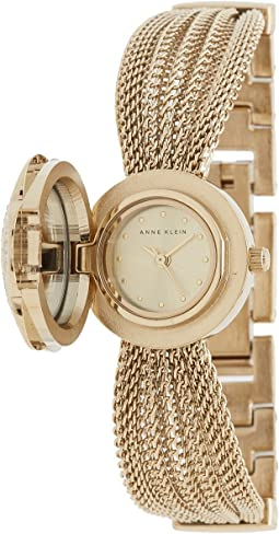 Anne Klein - AK-1046CHCV Swarovski Crystal Accented Gold-Tone Covered Dial Mesh Bracelet Watch