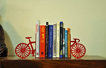 Mint Furnish Metal Decorative Cycle Bookends for Living Room (Red)