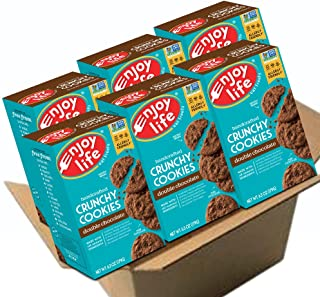 Enjoy Life Crunchy Cookies, Soy free, Nut free, Gluten free, Dairy free, Non GMO, Vegan, Double Chocolate, 6 Boxes