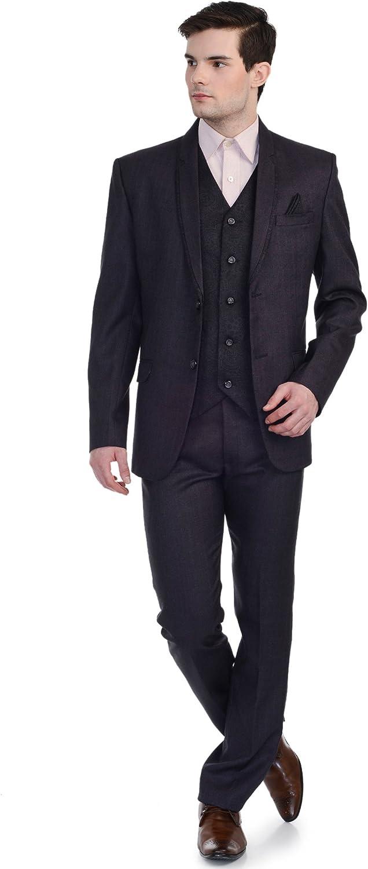 Royal Wine Designer Jacquard Festive/Wedding 3 Piece Suit