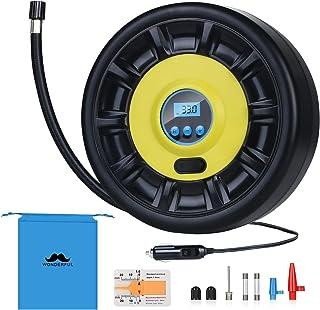 URAQT Compresor de Aire Eléctrico, Portátil Bomba de aire Eléctrico Hinchador Portátil Alimentado a 12v, Apto para Válvula Presta Hinchar Neumáticos de Moto Coche y Bicicleta