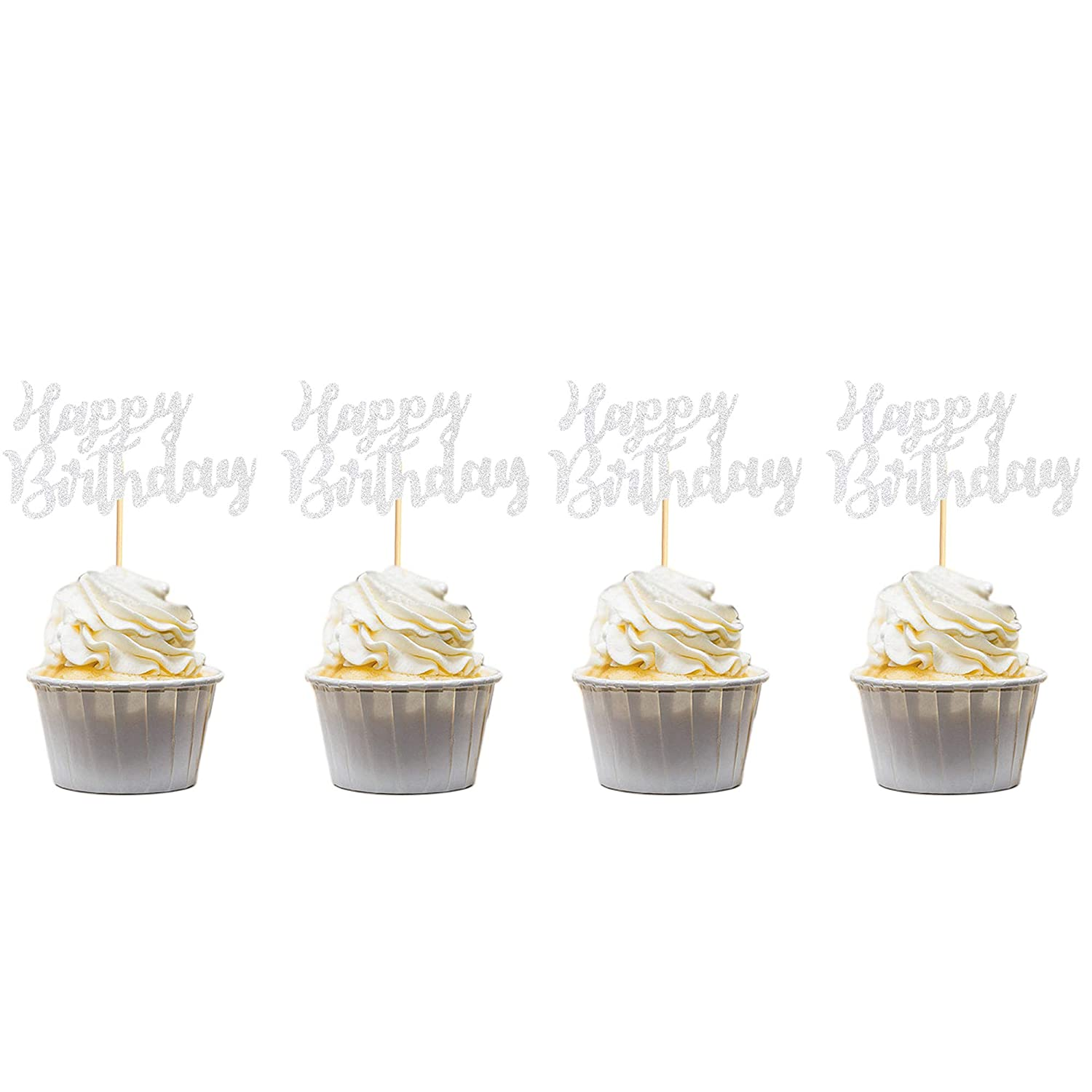 Arthsdite Pack of 48 Pre-Assembled Silver Glitter Happy Birthday Cupcake Toppers Cake Food Fruit Picks for Celebrating Birthday Party Decoration Supplies