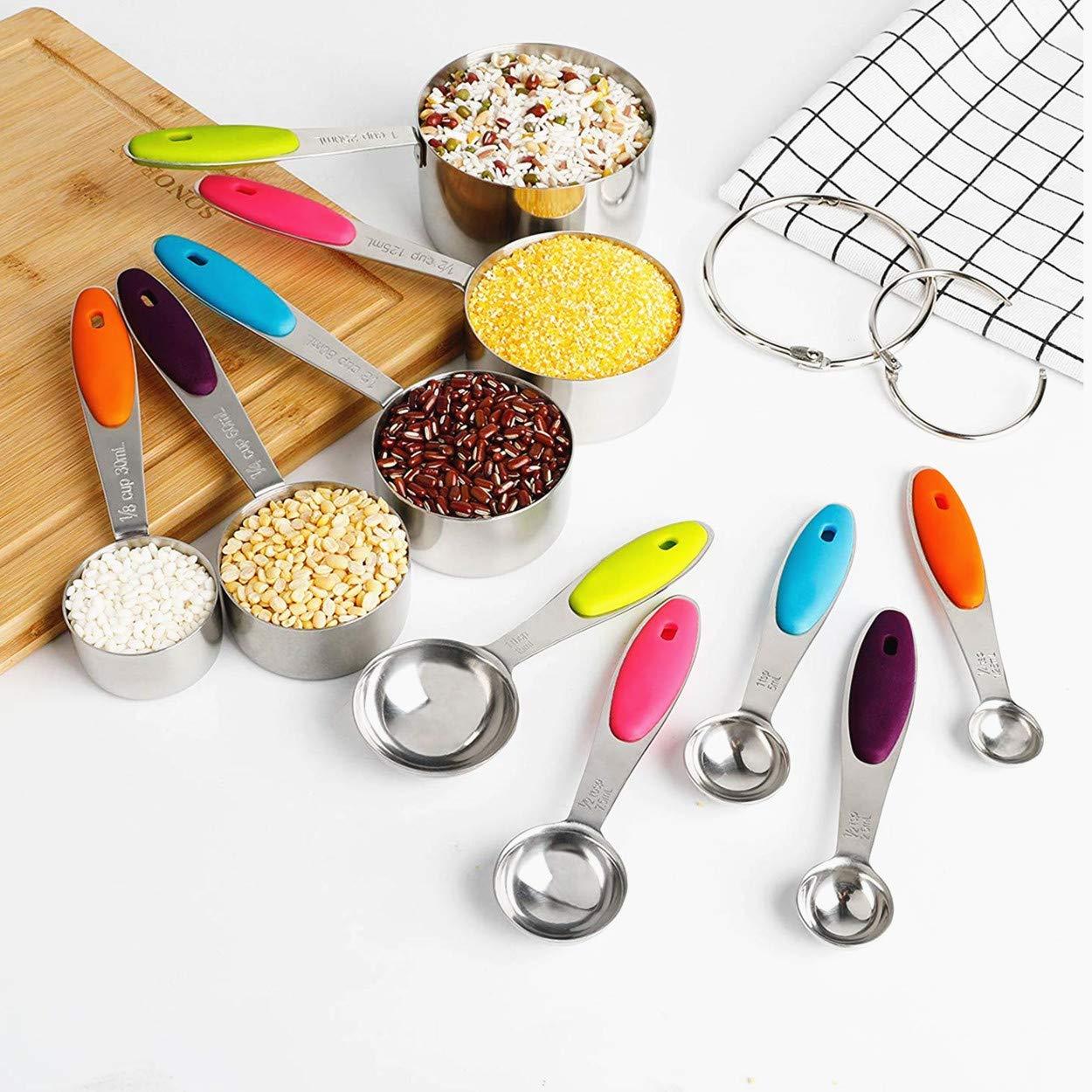 Set de Tazas y cucharas medidoras de Acero Inoxidable,Neloodony Juego de 12,silicona antideslizante adecuado para ingredientes secos y l/íquidos para cocina horneando.