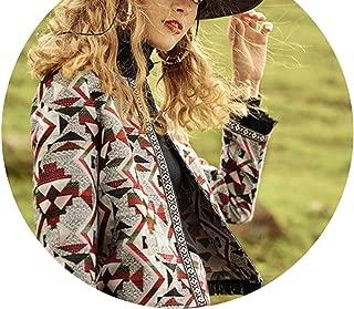 Multicr Geometric Jacquard Fringe Trim Coat and Skirt Workwear Blazer and Skirt on Set