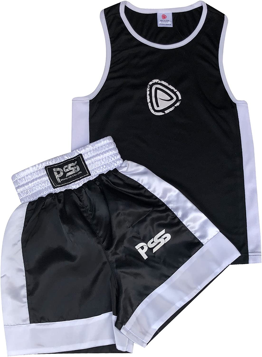 Kids Boxing Gloves 4-OZ 1005 Prime Sports Shop Ultimate Premium Quality Kids Boxing Uniform Comfortable and Lightweight 2 Pieces Set Top and Short Black-White
