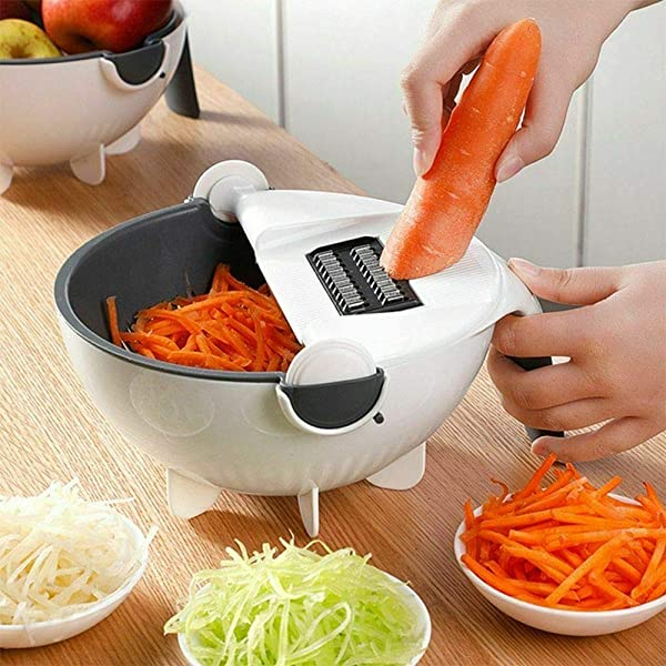 Magic Rotate The Vegetable Cutter Cut Vegetables And Drain 9 In 1 Slicer Multifunctional Capacity Rotary Vegetable Chopper And Cutter