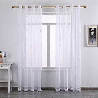 Tuffeel White Sheer Curtain Window Panel Set of 2 for Bedroom (52 x 96 Inch, White-dot)