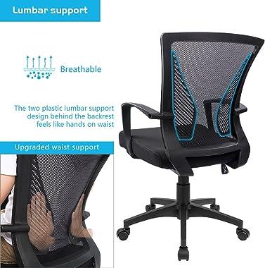 Furmax Office Mid Back Swivel Lumbar Support Desk, Computer Ergonomic Mesh Chair with Armrest (Black)