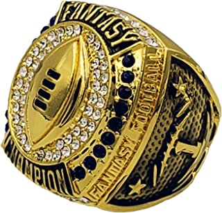 2019 Fantasy Football Champion Ring - Gold Finish - Heavy FFL League Champ Ring with Stand - Decade Awards