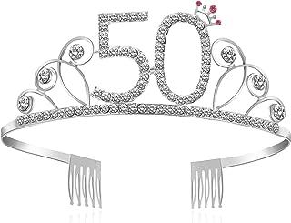 Crystal Birthday Crown Princess Birthday Tiara Hair Accessories Happy Birthday Crown Tiara for Women (50 birth - Silver)