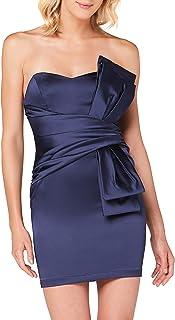 Marchio Amazon - TRUTH & FABLE Vestito Mini Senza Spalline Satinato Donna
