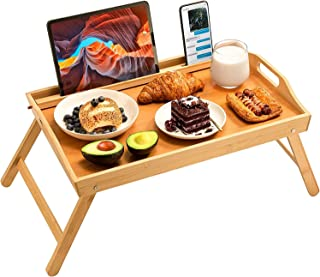 bamboo bed tray table, large breakfast tray - 21.7x14 inch with folding legs, multipurpose serving