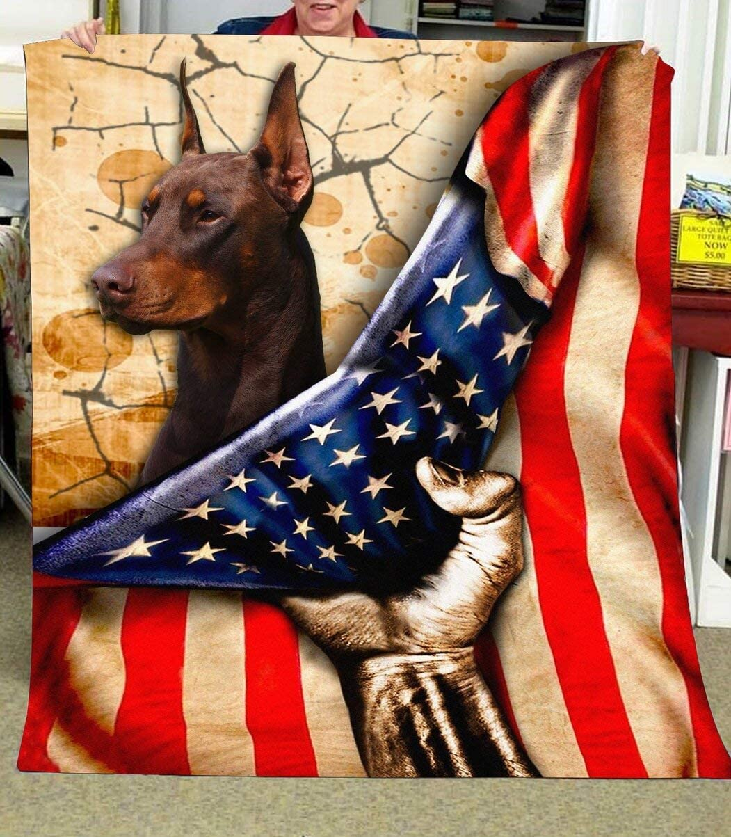 Personalized Doberman Quilt Dealing full price reduction 35% OFF Behind USA Flag Son to Daught