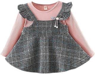 Akaddy 9M-3T Vestido de Volantes con Rayas de Empalme para beb/és Ni/ño Ni/ña Cuello Redondo Vestidos de oto/ño
