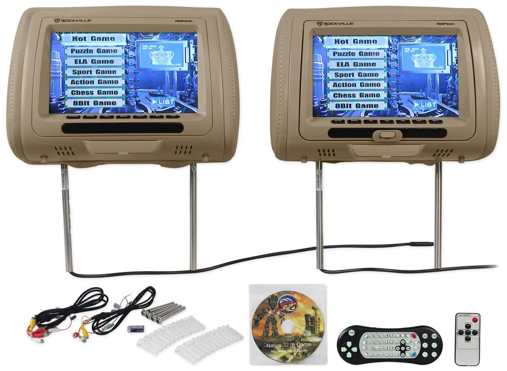 Rockville RDP931 BG Headrest Monitors 2 Pack