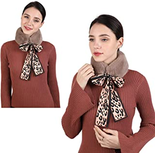 Faux Fur Collar Scarf Fur Neck Scarf For Women Ladies Fashion Leopard Ribbons Fur Scarves Neck Warmer For Coat